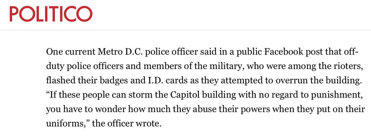 Current DC police officers just went on the record as saying that off-duty police officers and members of the military were a part of the mob that stormed the Capitol - and even flashed their badges and ID's to partake in the process.