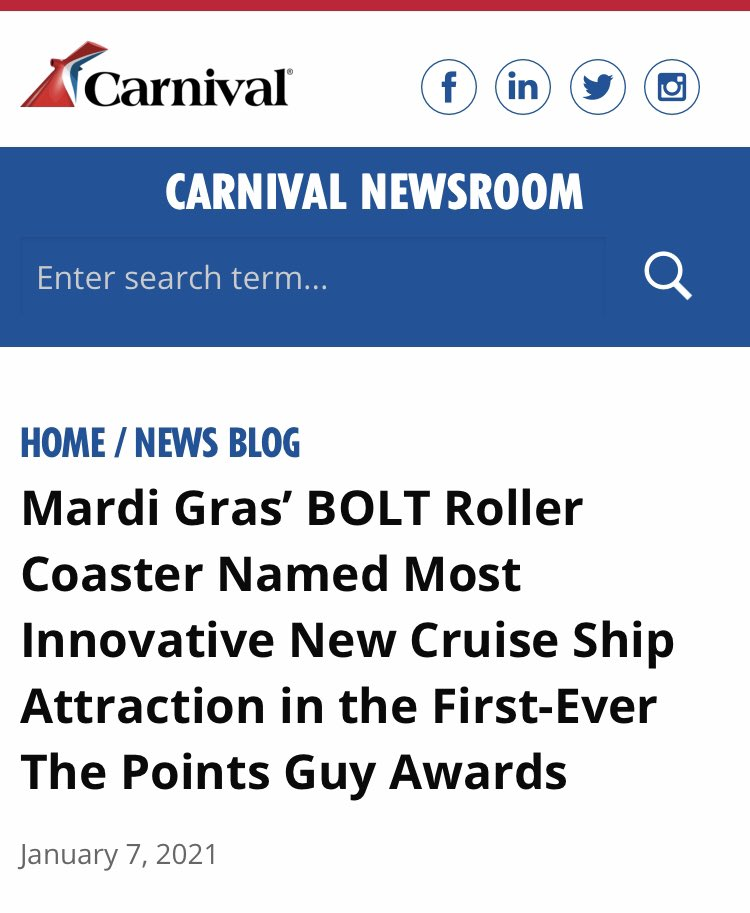 Not a huge surprise that #Bolt roller coaster on the #CarnivalMardiGras was named most innovative new #cruise ship feature in @thepointsguy awards. I'm definitely looking forward to the ride in December!  Learn all about the construction, design, +more ⬇️