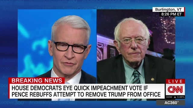 """The best bet right now is to get him out of office as quickly as possible.""  Sen. Bernie Sanders joins calls to remove President Trump by impeachment or invocation of the Constitution's 25th Amendment."
