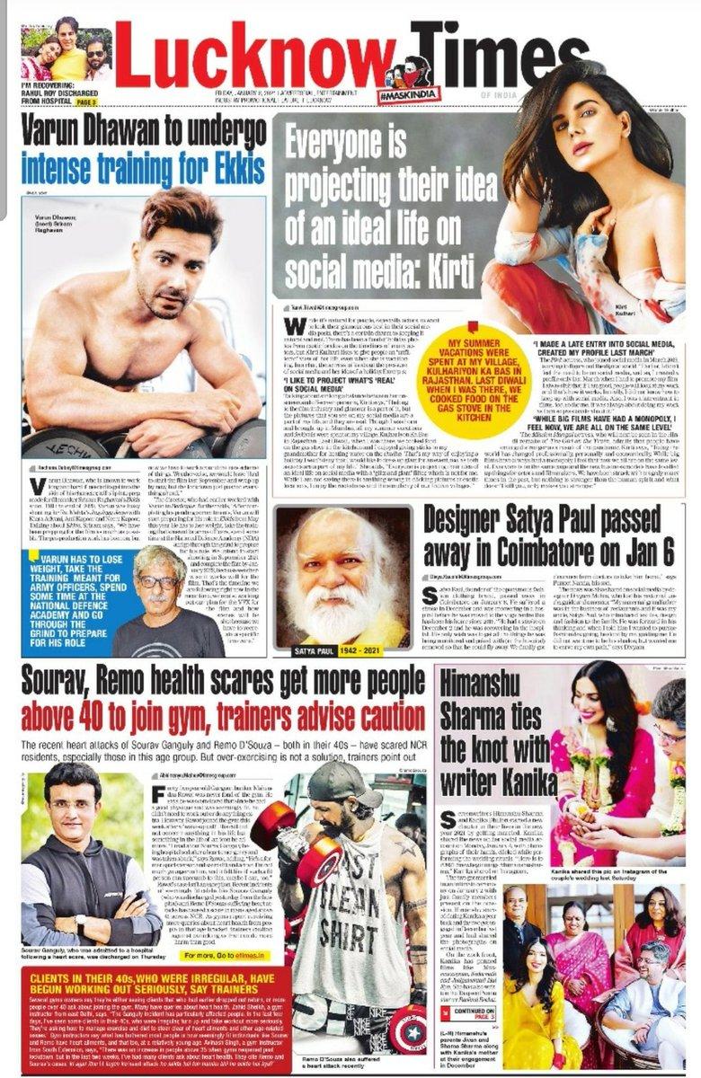 Missing the Lucknow Times print edition? Click below to read the e-paper edition       #MaskIndia #Bollywood #VarunDhawan #Ekkis #KirtiKulhari #SatyaPaul #SouravGanguly #remodsouza #himanshusharma