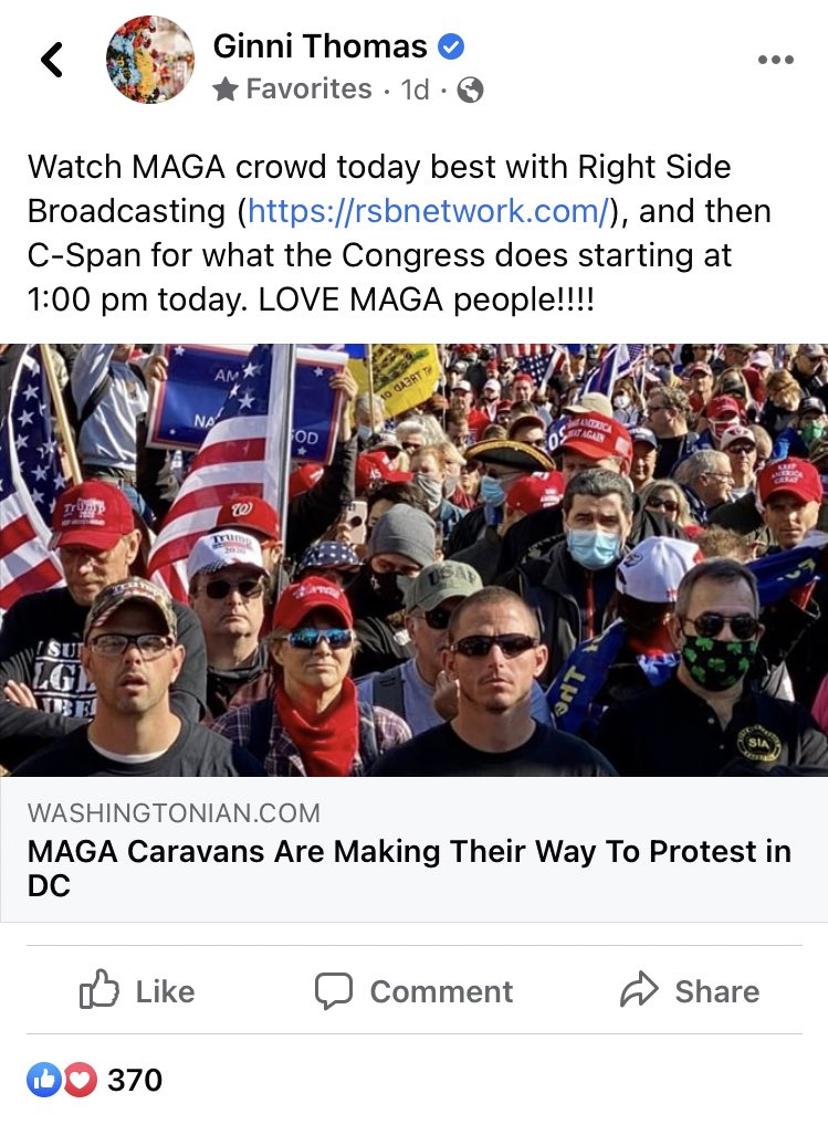 """On the morning of Jan. 6, Ginni Thomas—wife of Supreme Court Justice Clarence Thomas—endorsed the protest demanding that Congress overturn the election, then sent her """"LOVE"""" to the demonstrators, who violently overtook the Capitol several hours later. She has not posted since."""