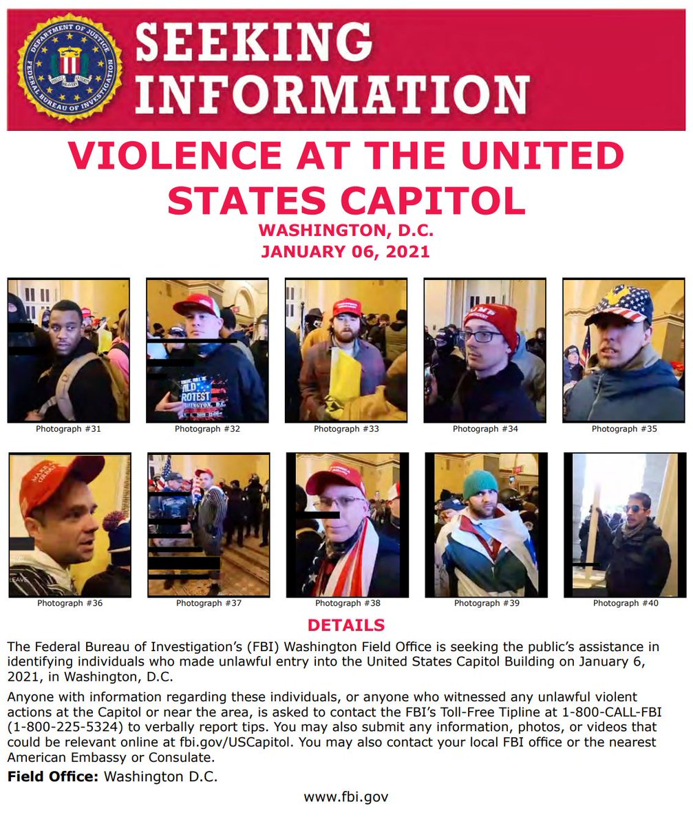 #FBIWFO is seeking the public's assistance in identifying those who made unlawful entry into U.S. Capitol Building on Jan. 6. If you witnessed unlawful violent actions contact the #FBI at 1-800-CALL-FBI or submit photos/videos at .