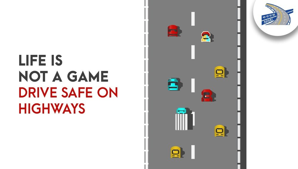 It's not all fun and games when you are driving on highways, always maintain a distance and drive safely! #NHAI #RoadSafety @MORTHRoadSafety