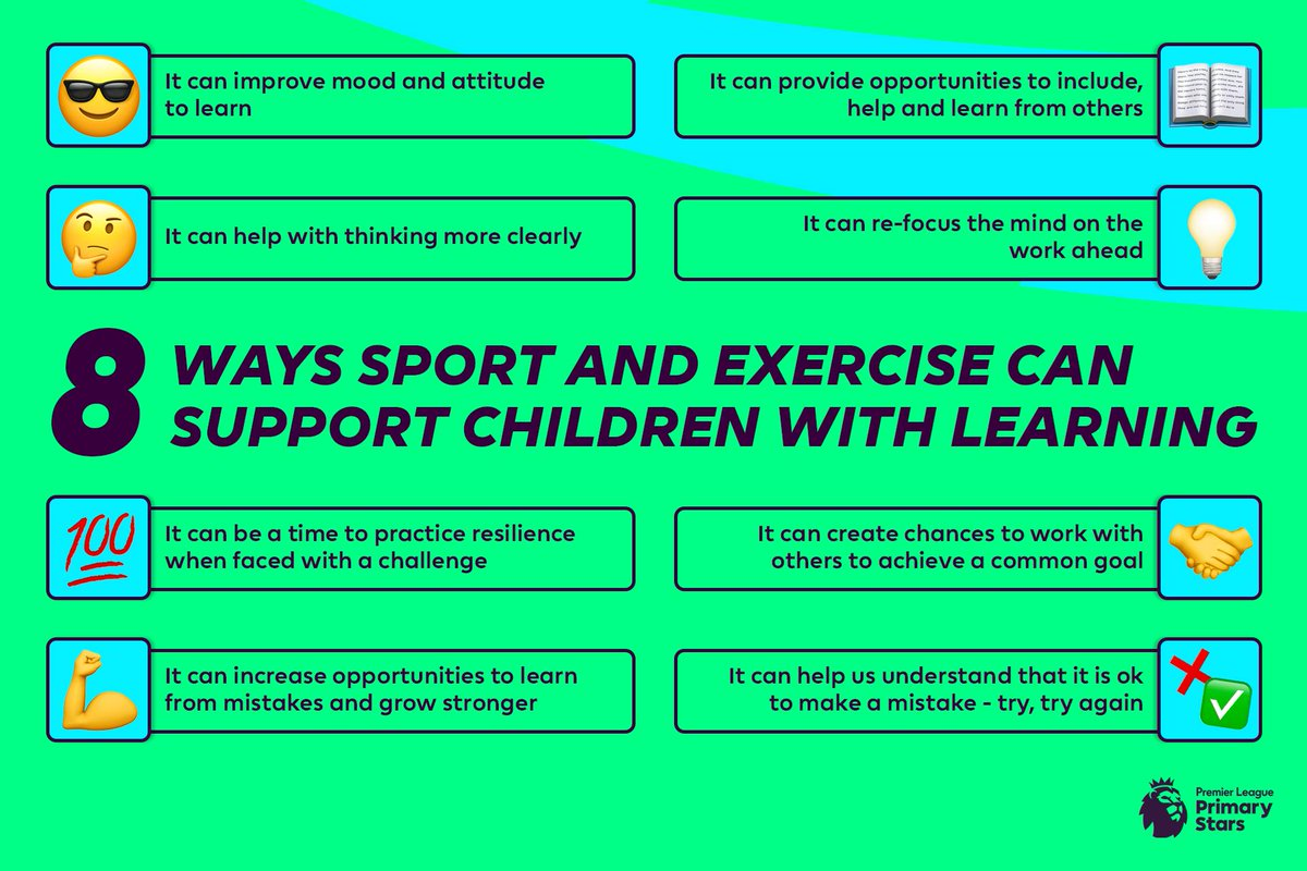 An active and healthy lifestyle can also help children when it comes to learning  Here are eight ways exercise can support their work 👇  #PLPrimaryStars