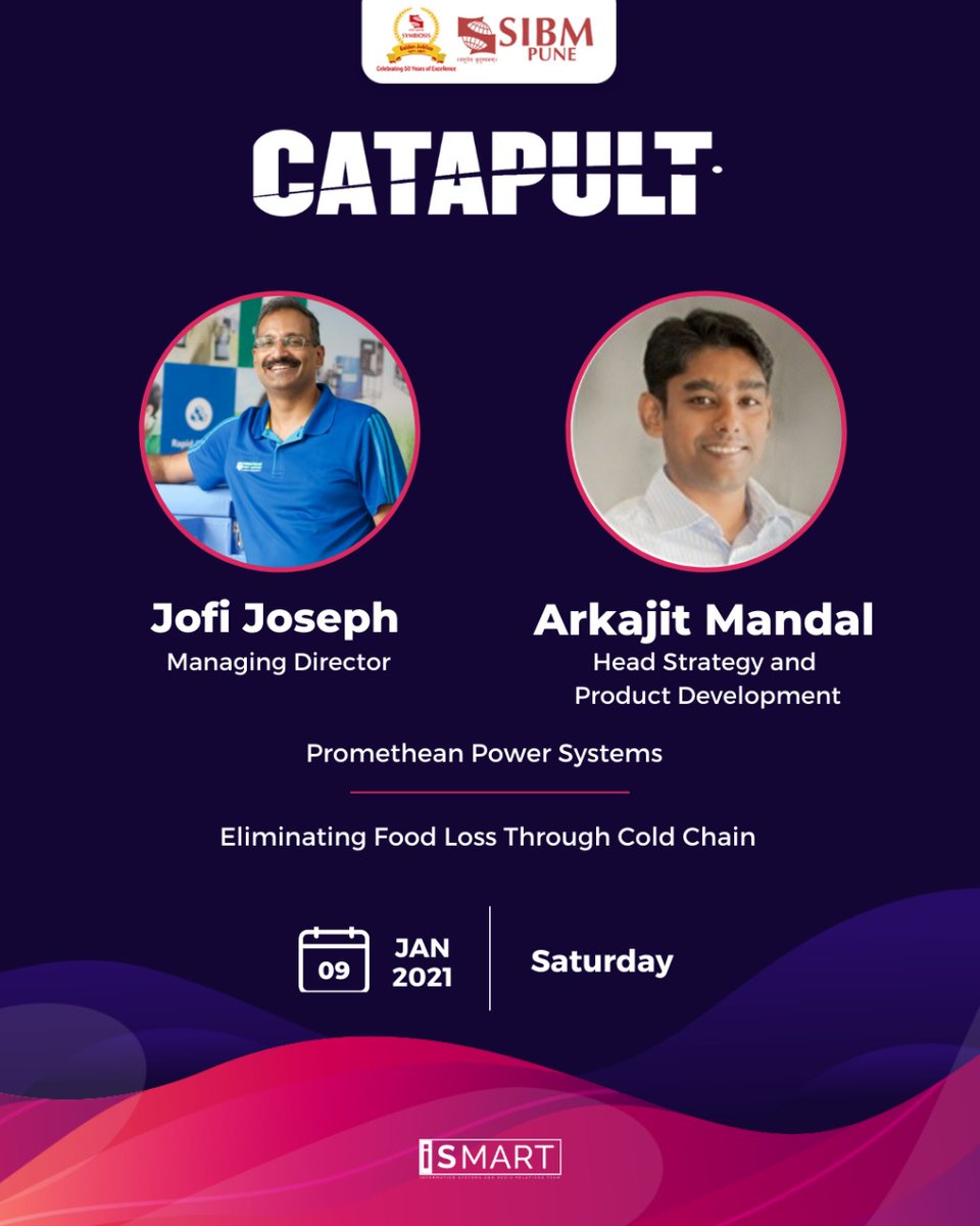 Continuing with our Leadership Talk series, Catapult, SIBM Pune is elated to host Mr. Jofi Joseph, Managing Director, and Mr. Arkajit Mandal, Head Strategy and Product Development at Promethean Power Systems, on the 9th of January, 2021.  @PrometheanPower  #SIBMPune #Catapult https://t.co/zctbB0FiyL