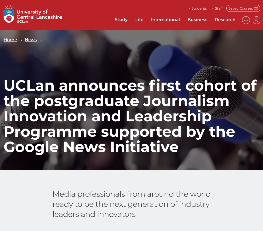 Congratulations to @UCLan, @journalismuclan on the launch of their new @JILeaders programme. Supporting the next generation of industry leaders & innovators:   #journalism