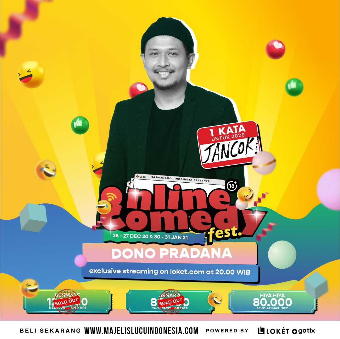 Raja Umat Sangar @donopradana Hadir di Online Comedy Fest!  30-31 Januari 2021 Pukul 20.00 Tayang di @loketcom   Beli di
