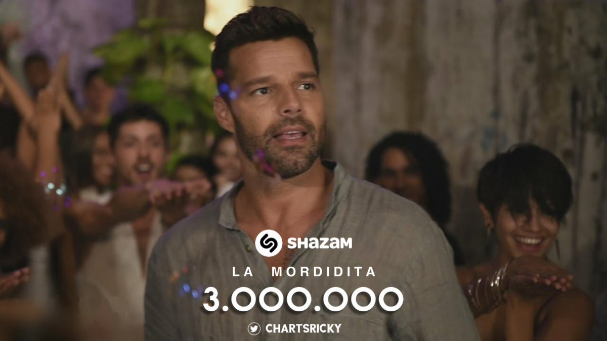 """La Mordidita"" by @Ricky_Martin has now surpassed 3 Million Shazams!  • This is his 2nd song to reach this milestone."