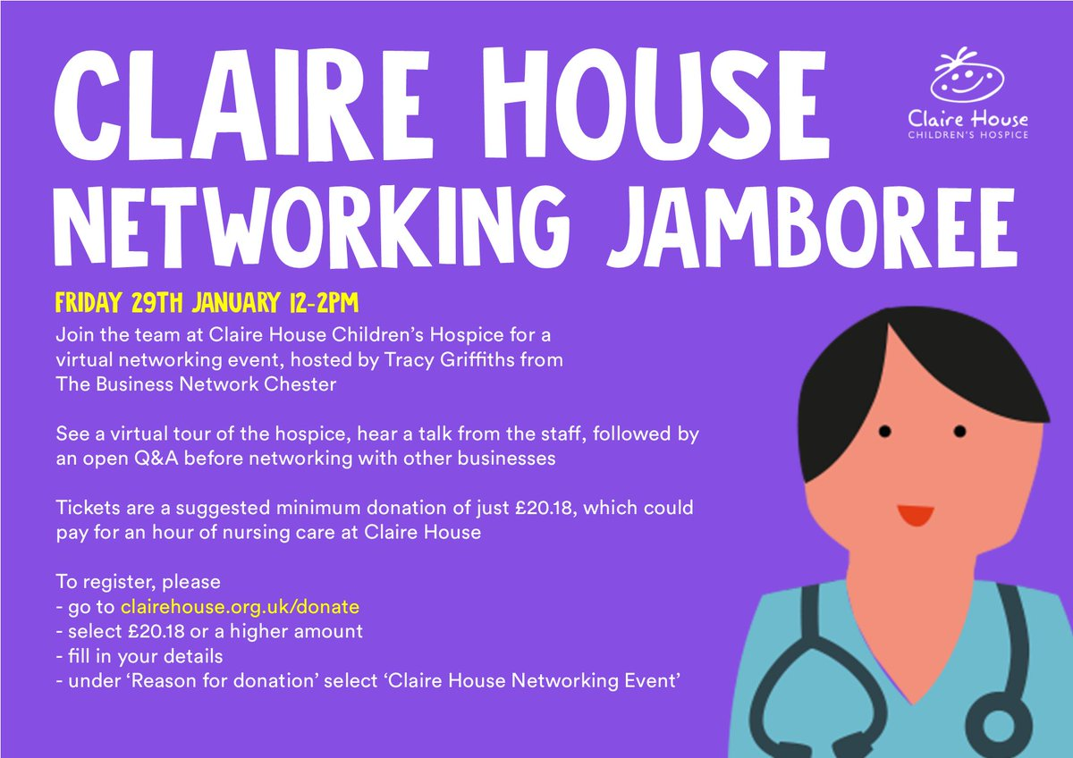 I'm delighted to announce the @ClaireHouse virtual networking event!  Hosted by the lovely @tracygriffiths from  @bnetworkchester you will be shown a virtual tour of the hospice, hear a talk from our care team, followed by an open Q&A before networking with other businesses (1/2)