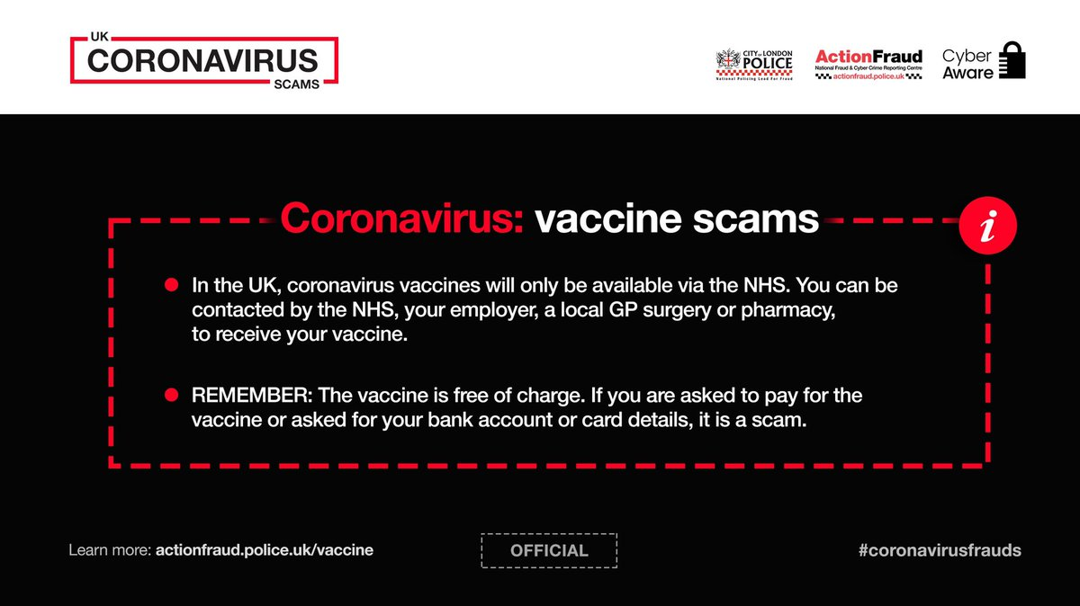 ⚠️In the UK, coronavirus vaccines will only be available via the @NHSuk. You can be contacted by the NHS, your employer, a local GP surgery or pharmacy, to receive your vaccine. Vaccinations are free of charge and you will not be asked to pay. #CoronavirusFrauds