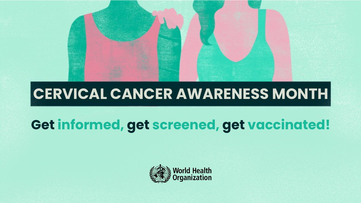 This #CervicalCancerawareness month,  ✅Get informed ✅Get screened ✅Get vaccinated  Cervical cancer can be prevented & treated, if caught early. 👉