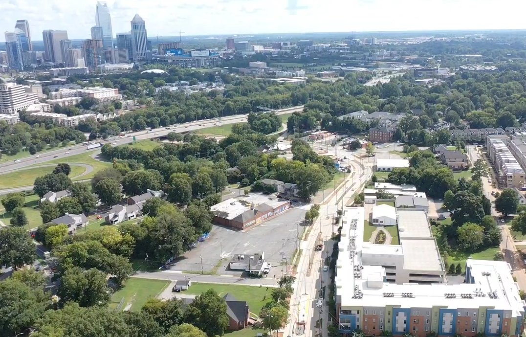 Aerial view of the city of Charlotte on the west side.