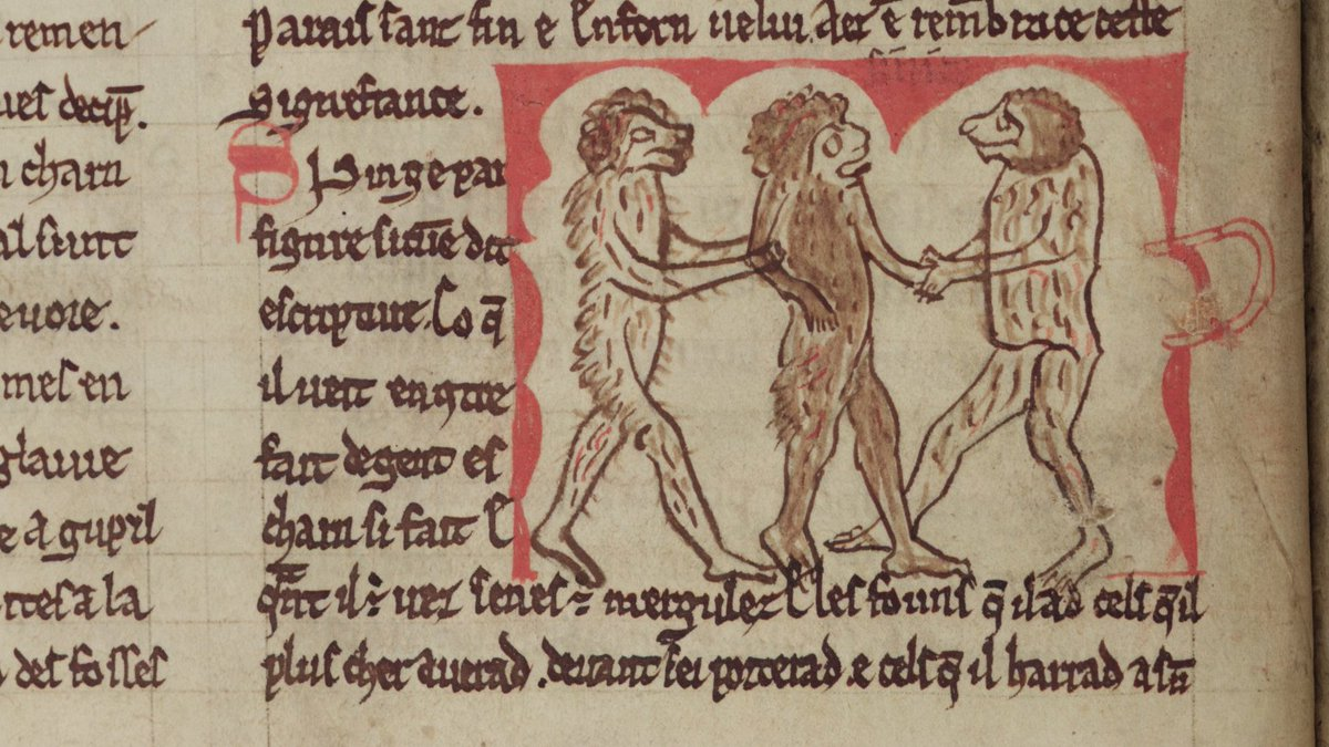 A manuscript illumination of monkeys acting like humans