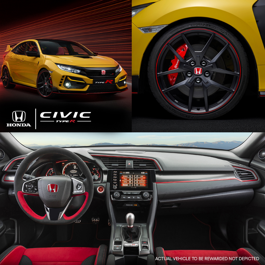 Sleek. Sporty. Unrivaled. 🏎️💨 What other words come to mind when you look at the Honda Civic Type R? 👇  Enter to win the first US mark production model 2021 Civic Type R Limited Edition, Serial Plate #001. ➡️    #hondatypeR #typeR #honda #omaze