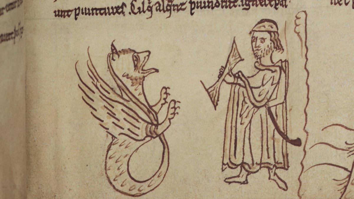 A manuscript illumination of an asp and a man