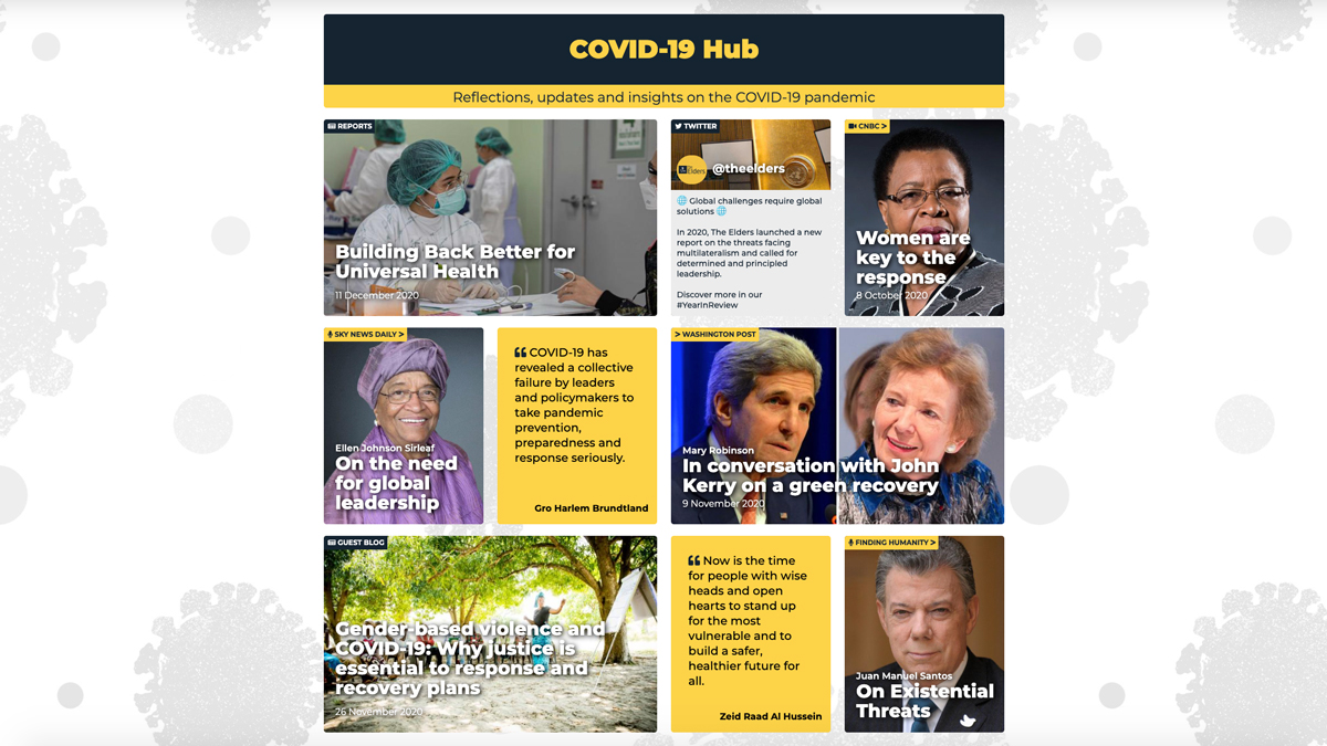 What should leaders prioritise to deliver a just and equitable world after #COVID19?   Visit the COVID-19 Hub for analysis, insights, and reflections from The Elders: