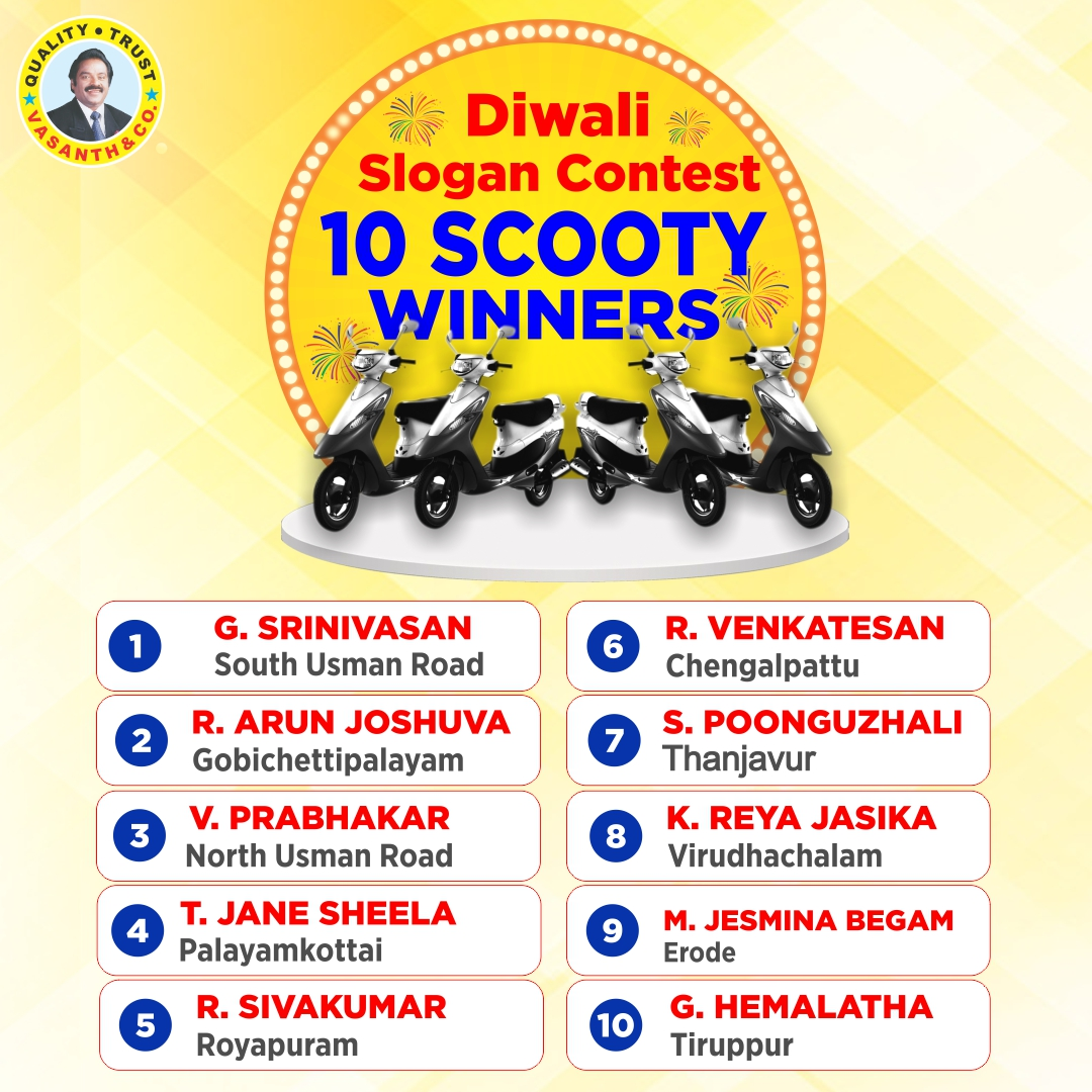 Vasanth and Co, India's No1 Dealer proud to announce the winners of TVS Scooty and also congratulate the participants #diwalislogancontest#vasanthandco  Shop Now👉🏻 #VasanthAndCo #scootywinner #SloganContest2020 #Diwali2020 #FestivalSale #SpecialDiscountSale