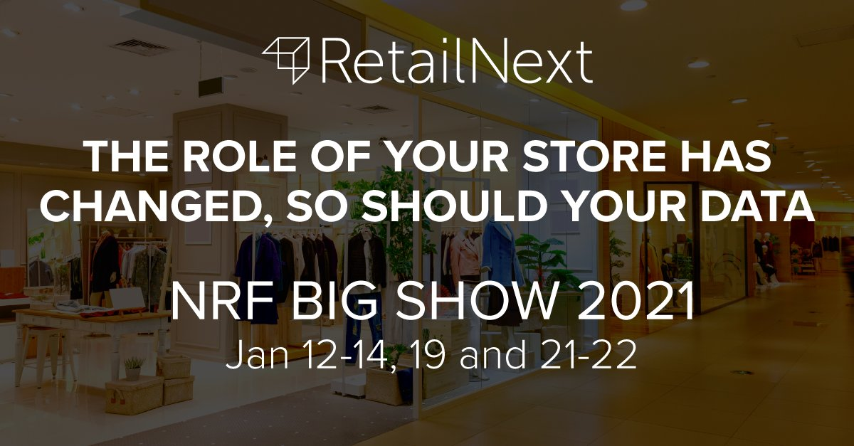 Visit the RetailNext virtual booth at #NRF 2021 to learn how we are driving retailer performance with data solutions focused on the real-time condition of the store, including enhanced capabilities for traffic management, demographic classification & more  https://t.co/qPUaPK9KLd https://t.co/Wzb5D3tChN