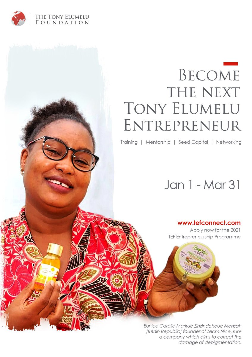 Dear African Entrepreneur, Do you have a business idea or a start-up under 5 years of existence? You can apply for the 2021 @TonyElumeluFDN Entrepreneurship Programme.  Apply now on  #AfricasGlobalBank #UBACares