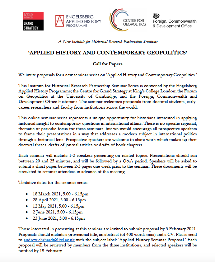 We are pleased to announce a CALL FOR PAPERS for a new @ihr_history seminar series titled Applied History and Contemporary Geopolitics. This research seminar is co-hosted with our colleagues at @CamGeopolitics and @FCDOHistorians. For more info: eahp.info/research-calls/