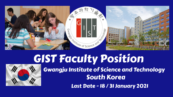GIST Faculty Position, Gwangju Institute of Science and Technology, Korea