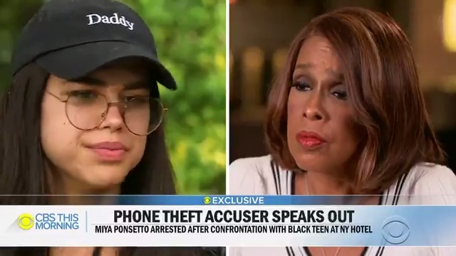 The 22-year-old woman caught on camera allegedly physically attacking a 14-year-old Black teen and falsely accusing him of stealing her phone was arrested in California.  In an exclusive interview, Miya Ponsetto and her lawyer spoke with @GayleKing hours before she was arrested.