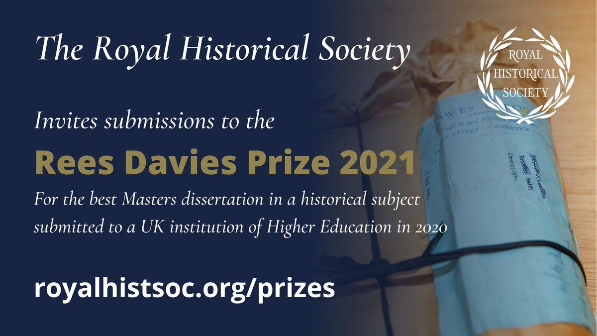 Did you mark or examine an outstanding Masters dissertation in a historical subject last year? The RHS Rees Davies Prize of £250 is awarded to the author of the best Master's dissertation submitted to a UK institution of Higher Education. royalhistsoc.org/prizes/rees-da…