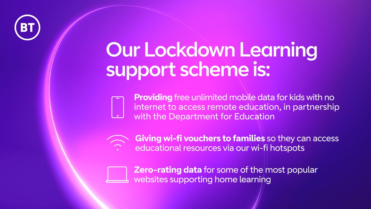 A child's potential to learn should have no limits, so we're giving families in England who need it most unlimited mobile data with our 'Lockdown Learning' support scheme.  We're also giving away wi-fi vouchers for BT hotspots across the UK and zero-rating educational websites.