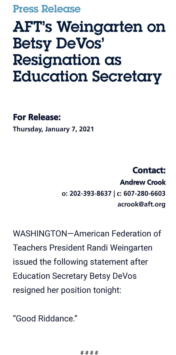 Replying to @DoctorYasmin: Statement from the American Federation of Teachers: