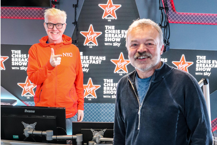 """Talking about #TheGrahamNortonRadioShow on @VirginRadioUK @grahnort admits """"I'm 58, I'm nervous and excited,"""" during a chat with @chrisevans on his Breakfast Show"""
