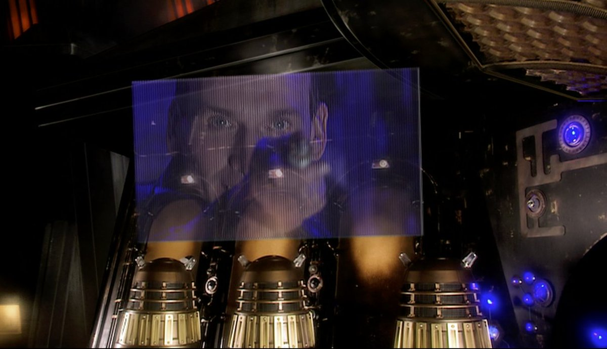 """: The Single Most Badass Doctor Sequence and Moment in #DoctorWho since the 2005 relaunch.   Meets the Daleks en masse again. Scares the shit out of them via FaceTime. Then guarantees Rose """"I'm coming to get you.""""   #Ultimate #SaveTheDay #AcceptNoSubstitutes"""