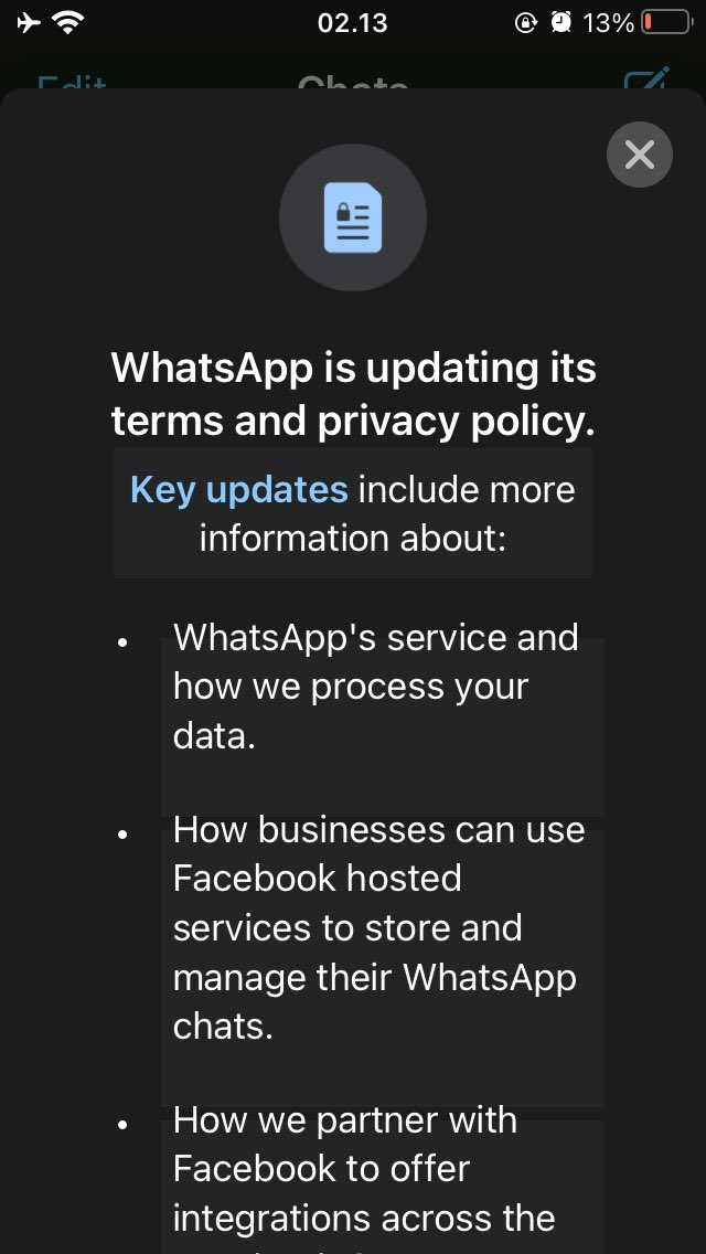 Oke. So WhatsApp is no longer able to protect people's privacy. It's time to find a new massanger apps...