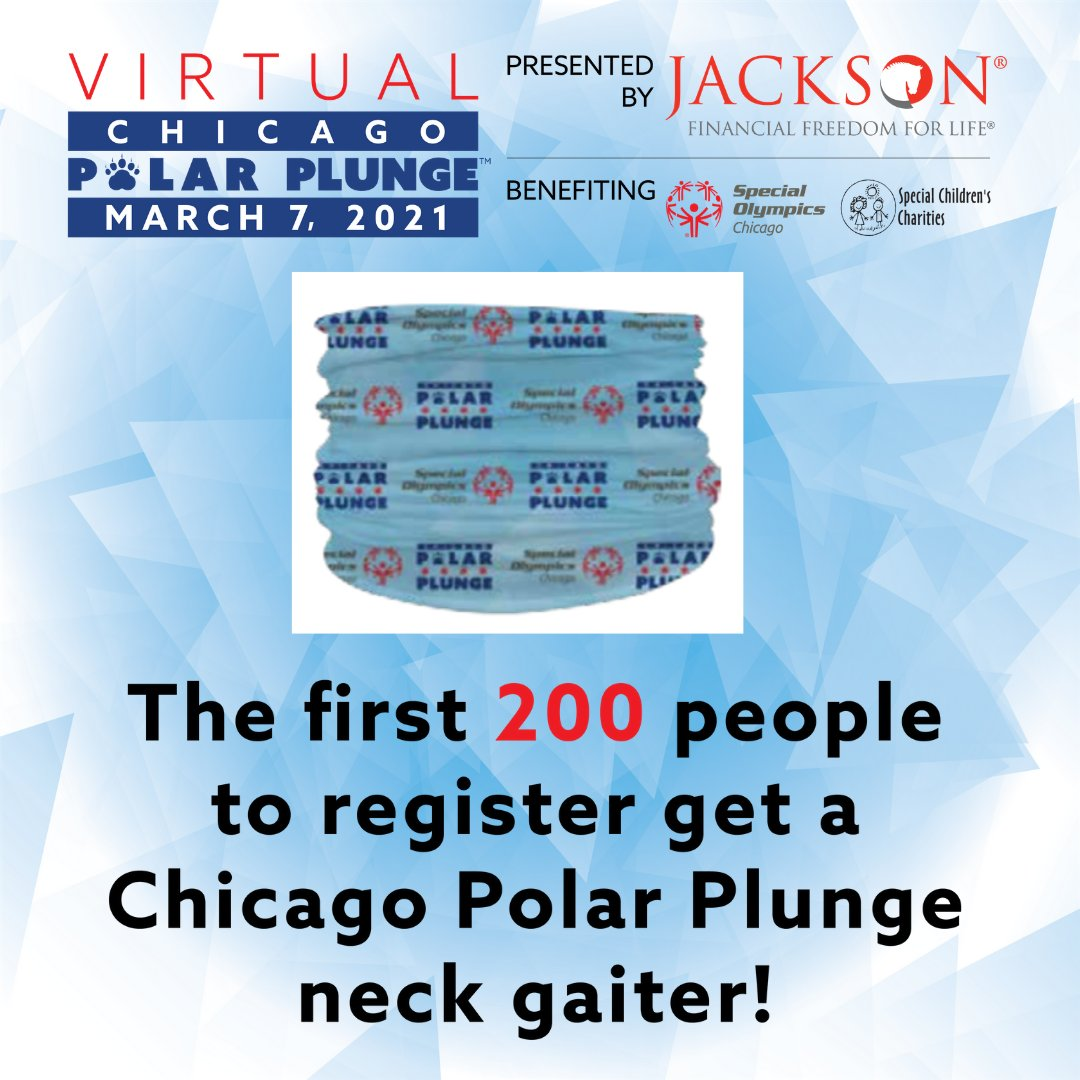 LAST CHANCE to get your free Chicago Polar Plunge neck gaiter for registering for the Virtual Chicago Polar Plunge presented by Jackson! We only have a few left so sign up today! https://t.co/DVw32TNJwB https://t.co/6dCZ34DVId