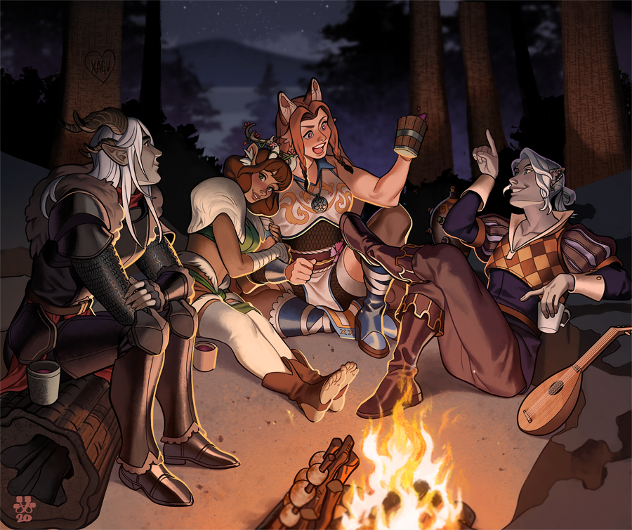 Beautiful commission by @kazukisimo of my DnD group! Nights by the fire have made for some of my favorite memories and this piece captures that so well 💖
