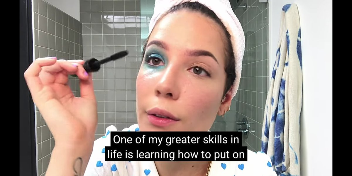 "halsey: ""one of my greater skills in life is learning how to put on mascara without needing to make an O face"" also halsey: -"