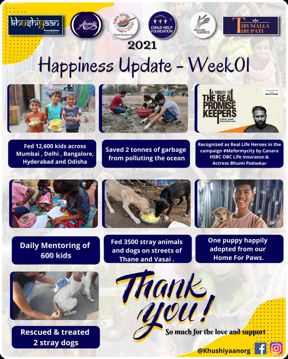 "2021 is all about spreading even more Love  I am glad to share weekly ""Happiness Update"" which will be released every Friday & shall talk about the work / achievements of the week  Let's multiply Love by living our Passion  #HappinessUpdate - #Week01   @AUThackeray @priyankac19"