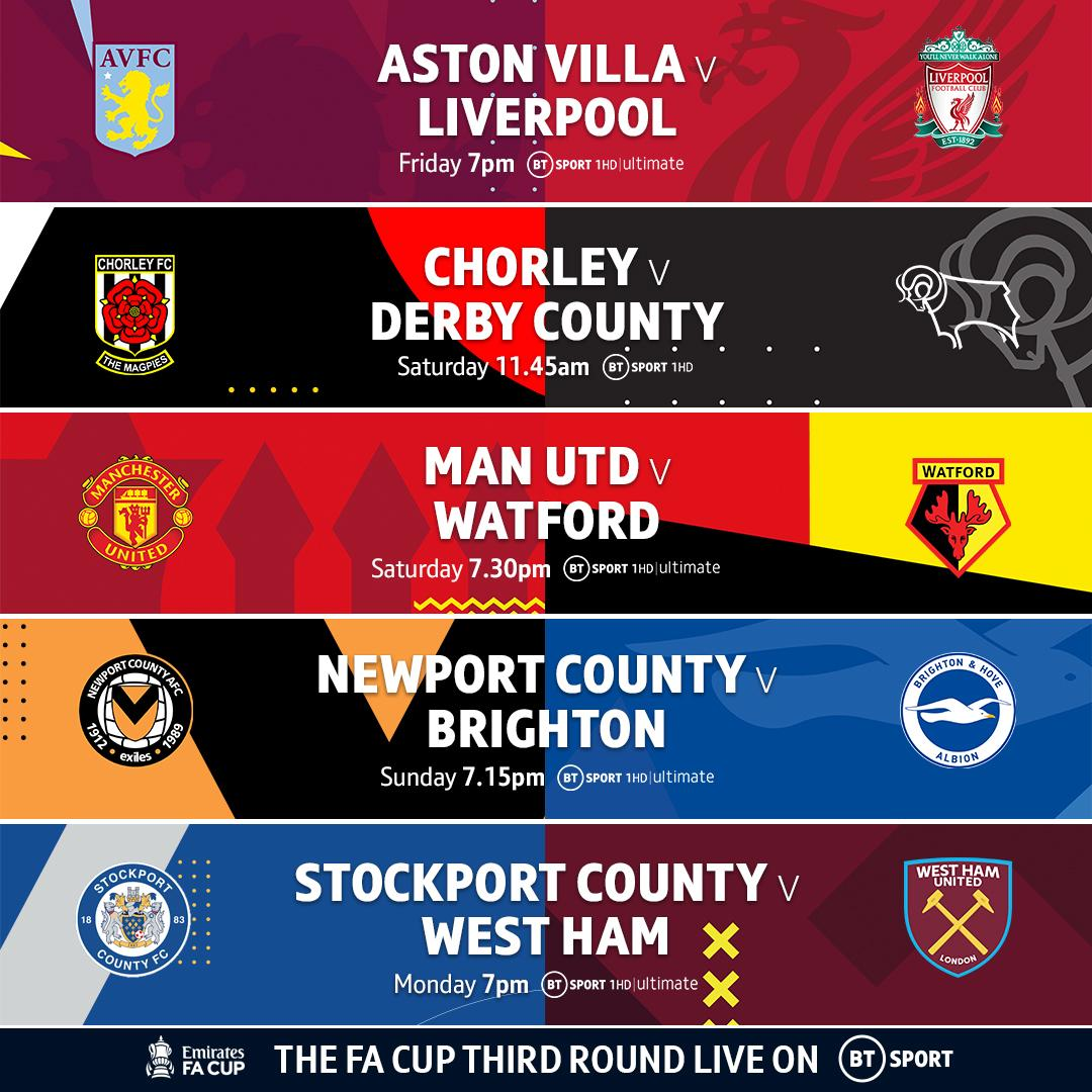 It's FA Cup🏆Third Round on @btsport. With five matches exclusively live over the next four days. Tune in from 7PM tonight.  Sign up to watch here: