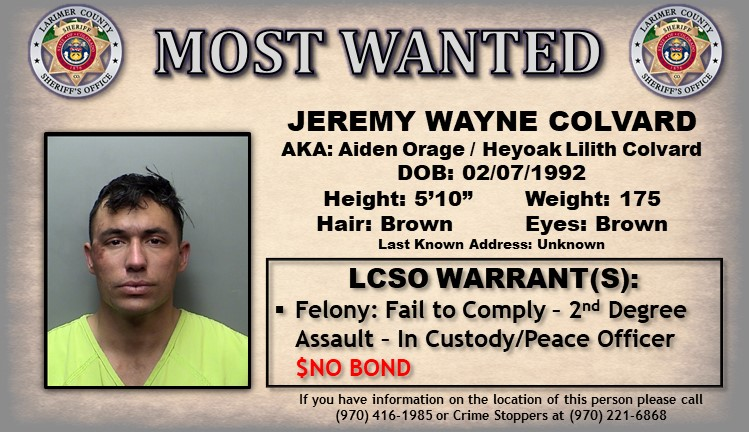 LARIMER COUNTY'S MOST WANTED  We're looking for Jeremy Wayne Colvard, do you know where he is? https://t.co/3shj4LhZHc