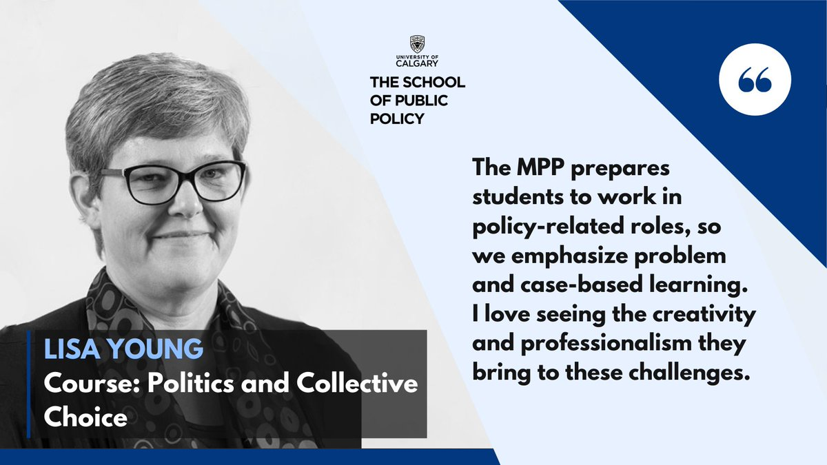 Meet our Master of Public Policy instructors! Lisa Young, Ph.D, is Director of Graduate Programs at The SPP and a Professor of Political Science.  @JLisaYoung is also the author of several books including 'Feminists and Party Politics' and 'Money, Politics & Democracy.' https://t.co/0Vcul9gYHR