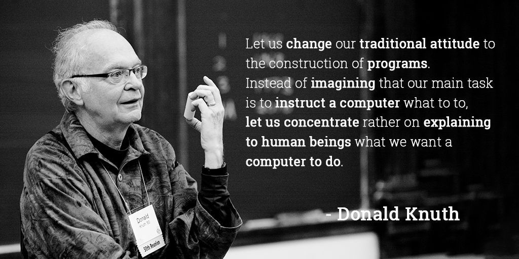 Happy birthday to Donald Knuth, whose Art of Computer Programming books have led many to call him the father of the analysis of algorithms. (photo: @CodeWisdom)