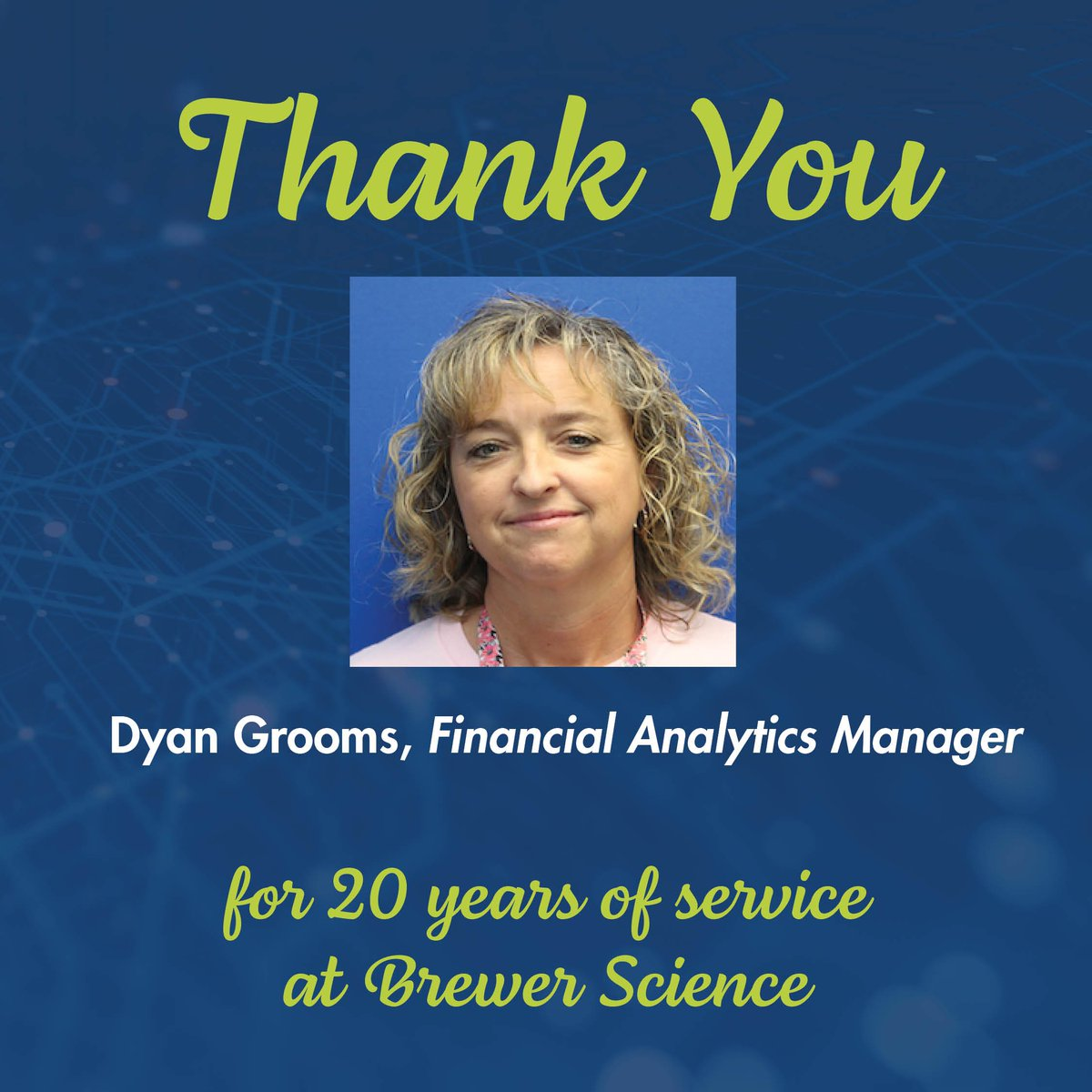 test Twitter Media - Today, we would like to congratulate Dyan Grooms for 20 years of service at Brewer Science. Thank you, Dyan, for your dedication and hard work. . . . #EmployeeAppreciation #EmployeeAnniversary #WorkAnniversary #dedication #hardwork #appreciation #congratulation https://t.co/c37NiLTpZD