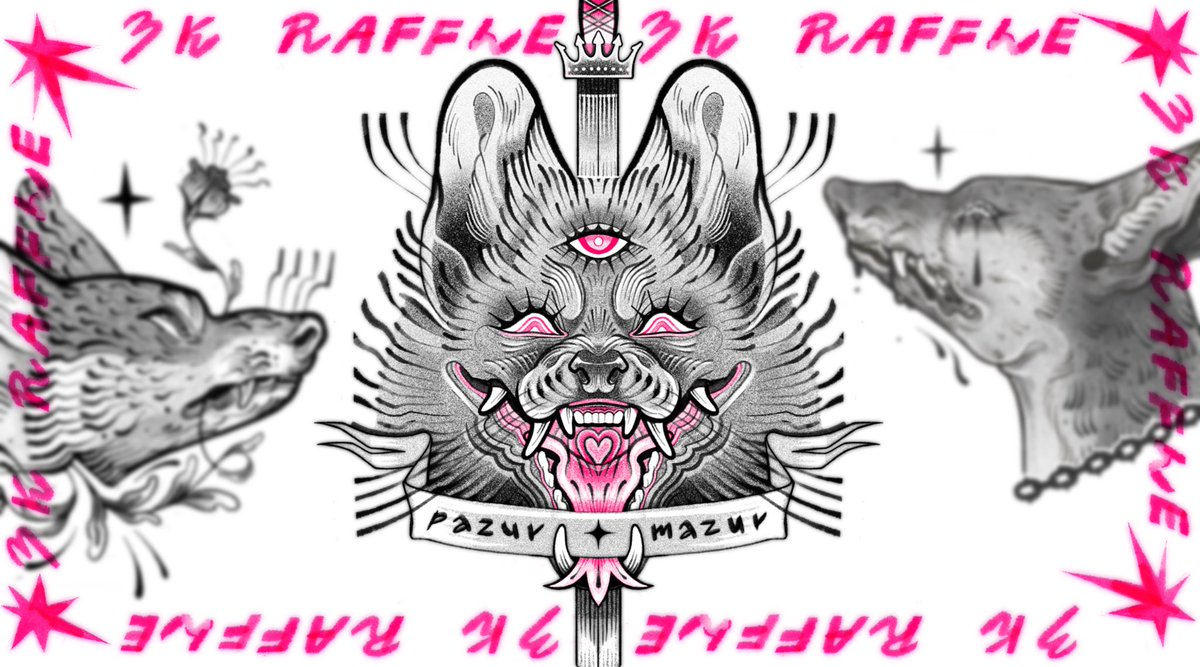3K RAFFLE ✹ 3 WINNERS Hello! I want to thank you for nice start of 21' with 3k of you 🥺 I'm doing a raffle for my fans, with a B&W PORTRAIT of your character/pet as a prize! ✹ there will be 3 randomly chosen winners ✹ follow me & retweet this post to take part ✹ ends 15.01