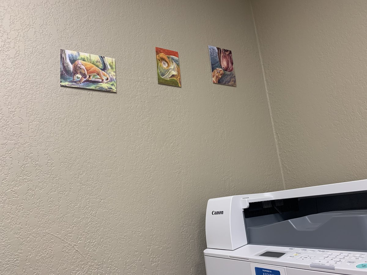 Very pleased to have dinocephalian prints by @clepsydrops up in my office! #drawdinovember