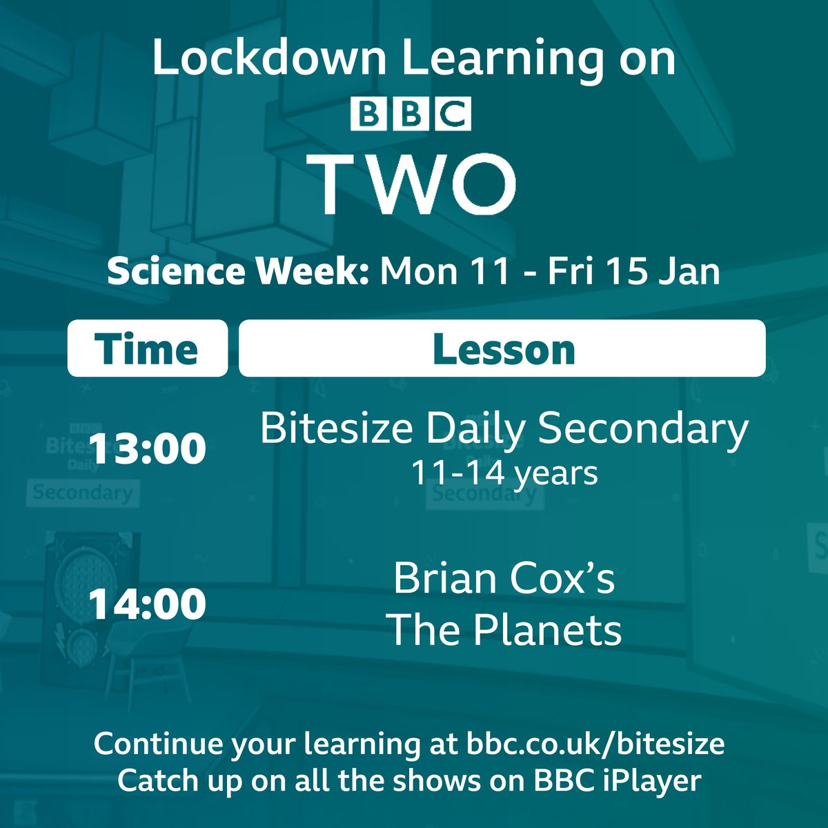 The BBC are making learning available for every child, of every age, every day of the week. See below for details of the BBC's Week 1 Lockdown Learning on @BBCTwo & @BBCiPlayer with @bbcbitesize.
