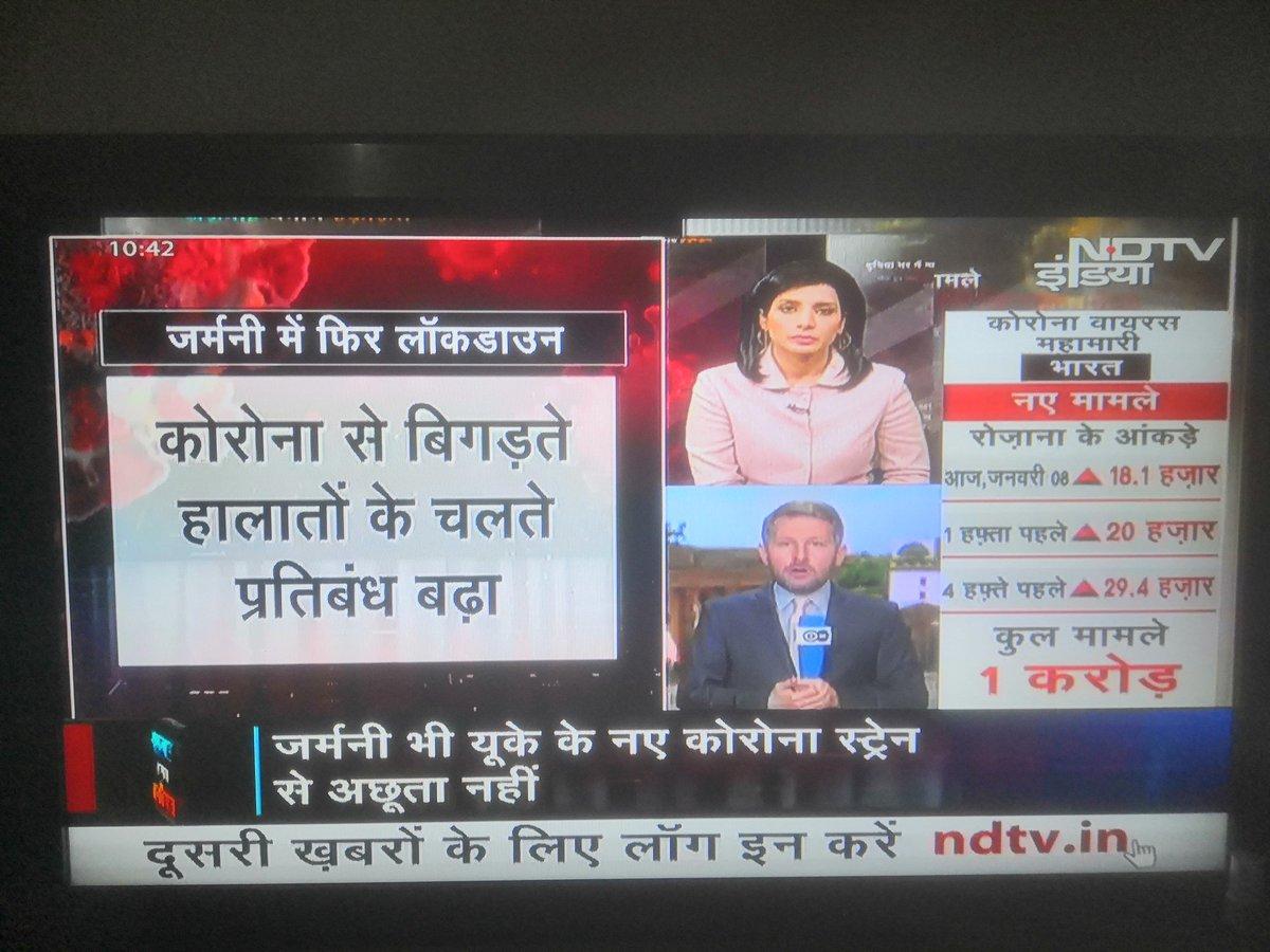 Today I saw #NDTV anchor talking to DW German correspondent Thomas in Hindi and Thomas replying in English #NDTVCoronavirusTracker  #COVID19
