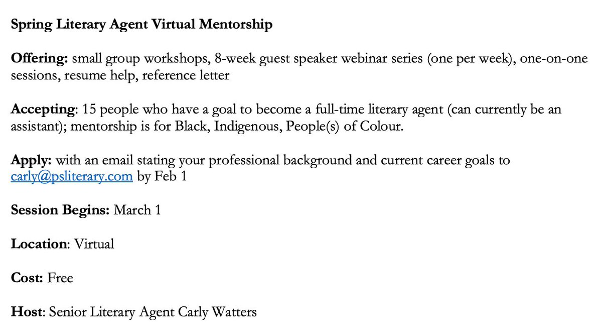 Reminder that my lit agent mentorship spring session is opening up.  Qualifications needed? None, just a passion for diverse storytelling.  Who am I looking for? BIPOC individuals who want to be come agents!  Read all about it here: