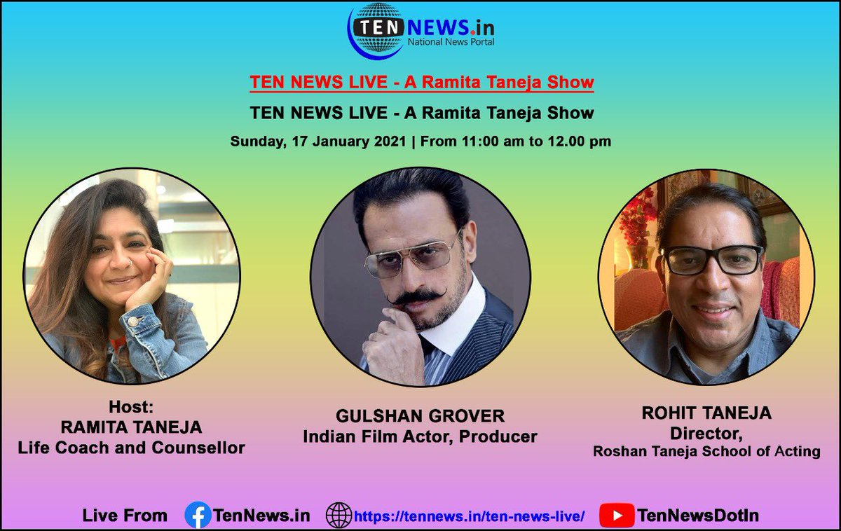 Nothing is achieved w/o #HardWork,  #Dedication & #CorrectGuidance. Watch India's fav #BADMAN #GulshanGrover on  #RamitaTanejaShow  #KyaBaatHai on #TenNews his #FilmyJourney,  #ActingClasses at #RoshanTanejaSchoolOfActing. His message 2 #AspiringActors  & director #RohitTaneja