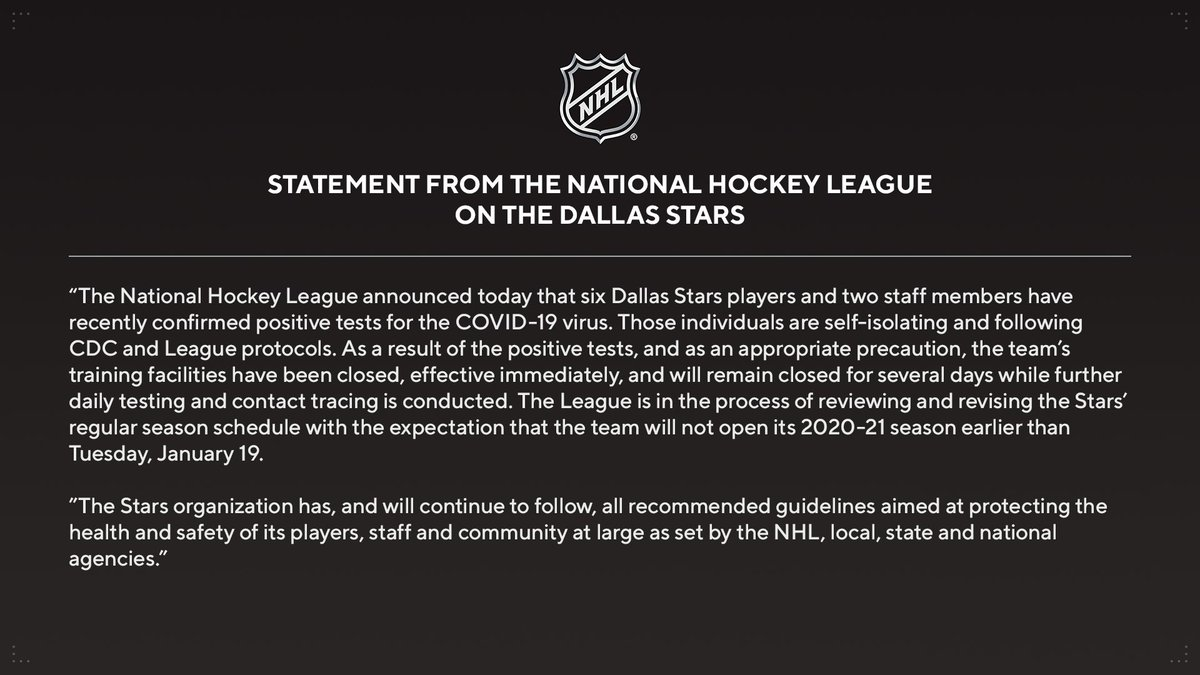 Replying to @PR_NHL: NHL statement on the Dallas Stars.