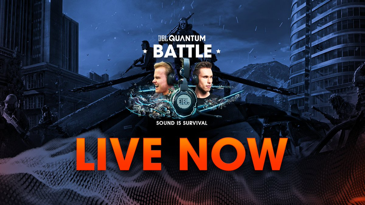 Soldiers! Its time to go to Battle    Tune in RIGHT NOW as @nickyromero & @Royalistiq battle it out with 3 community members to see who will be crowned CHAMPION of the #JBLQuantumBattle 👑  🎛️ 🎮