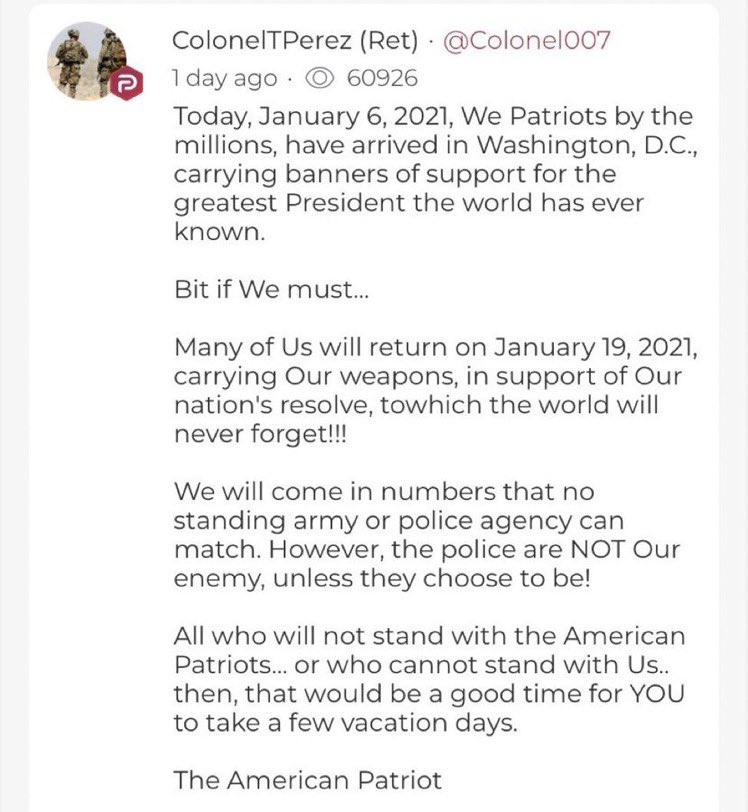 UPDATE: The calls for violence over on Parler are getting much, much worse.  There are now open calls for the murder of police officers and planning for violence on January 20th  This obviously severely violates the law, much less the @AppStore and @GooglePlay rules.  #PullParler https://t.co/jNyYhxbBNs
